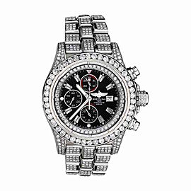 Breitling Dial Model A13370 Diamond Super Avenger Black Index Watch