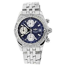 Breitling Chronomat Evolution Stainless Steel With Diamond Bezel Blue Dial Watch