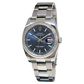Rolex 116234 Datejust Stainless Steel 18K White Gold Bezel Blue Dial Mens Watch