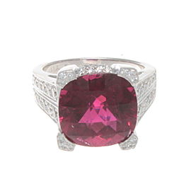 Kabana 18k White Gold & 11.75 Ct Diamond Rubellite Ring