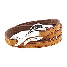 Ippolita Sterling Silver Hook Burnt Orange Leather Wrap Bracelet