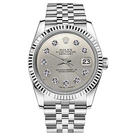 Rolex Datejust Stainless Steel 18K Fluted Bezel Silver Diamond Classic Jubilee 26mm Womens Watch