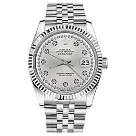 Rolex Datejust 18K White Gold Stainless Steel Silver String Diamond Womens Jubilee 26mm Womens Watch