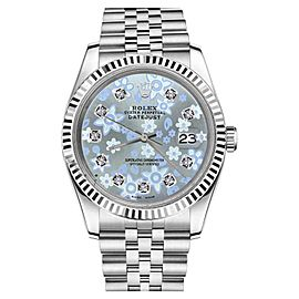 Rolex Datejust Stainless Steel 18K White Gold / Stainless Steel Ice Blue Flower Diamond Accent 26mm Womens Watch