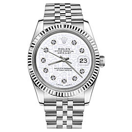 Rolex Datejust Stainless Steel 18K White Gold w Diamonds Jubilee Jubilee 26mm Womens Watch
