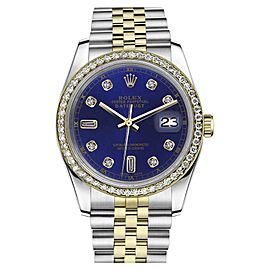 Rolex Datejust Classic Stainless Steel/ 18K Gold Blue 8+2 Diamond Accent Jubilee 36mm Unisex Watch