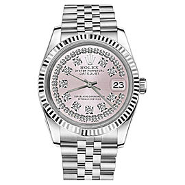 Rolex Datejust 18K & Stainless Steel Pink Face String Diamond Jubilee 26mm Womens Watch