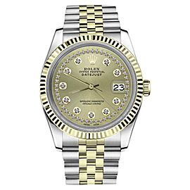 Rolex Datejust Two-Tone Stainless Steel/ 18K Gold String Diamond Jubilee Champagne 26mm Womens Watch