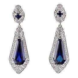 Judith Ripka 18K White Gold Pave Diamond & Synthetic Sapphire Earrings
