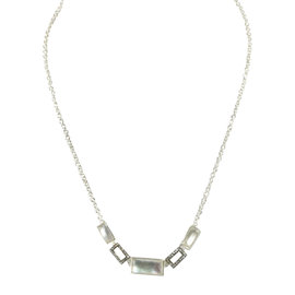 Ippolita Sterling Silver Mother of Pearl Doublet Diamond Stone Chain Necklace