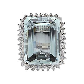 14K White Gold with 30.25ct Aquamarine & 1.60ct Diamond Ring Size 6