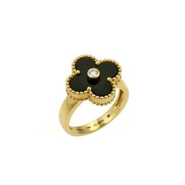 Van Cleef & Arpels Alhambra 18K Yellow Gold Diamond & Onyx Ring Size 6