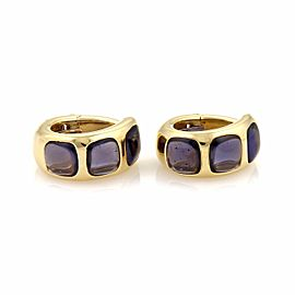 Pomellato 18K Yellow Gold Lolite Curved Oval Hoop Clip On Earrings