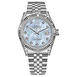 Rolex Datejust Stainless Steel Baby Blue MOP Mother Of Pearl Diamond Dial 31mm Womens Watch