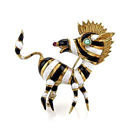 Vintage 18K Yellow Gold and Emerald with Ruby Zebra Pin Brooch