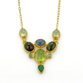 Gurhan 24K Yellow Gold with Tourmalin, Emerald and Peridot Drape Necklace