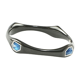 Ippolita Black Resin 925 Sterling Silver Aqua Blue Azure Bangle Bracelet