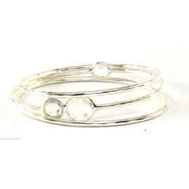 Ippolita Sterling Silver with Quartz and Diamond Bangle Bracelet