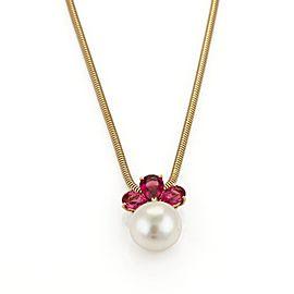 Bulgari 18K Yellow Gold 1.10ct Pink Tourmaline Pearl Pendant Necklace