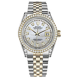 Rolex Datejust Stainless Steel/ 18K Gold White Mother of Pearl Dial with Diamonds 36mm Unisex Watch