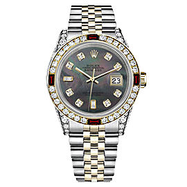Rolex Datejust Stainless Steel and Yellow Gold with Black Mother of Pearl Dial 31mm Womens Watch