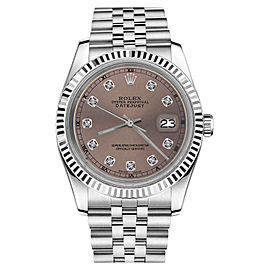 Rolex Datejust Stainless Steel With Purple Salmon Dial 31mm Womens Watch