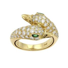 Piaget 18K Yellow Gold Diamonds & Emerald Swan Bypass Ring Size 4.75