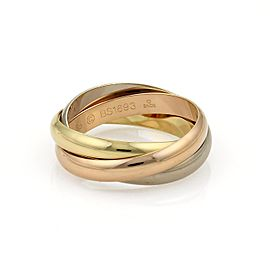 Cartier 18K Yellow White & Rose Gold Trinity Band Ring Size 11