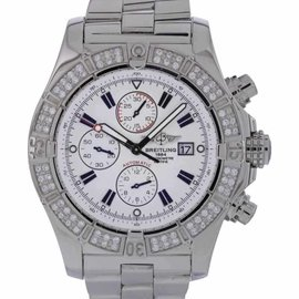 Breitling Super Avenger A13370 Stainless Steel Diamond Bezel Swiss Automatic 48mm Mens Watch