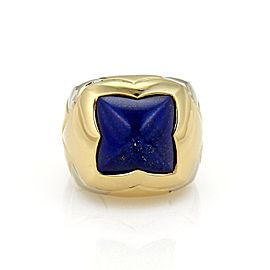 Bulgari Bvlgari 18K Yellow & White Gold Pyramid Lapis Dome Ring Size 6.5