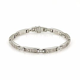Tiffany & Co. Atlas 18K White Gold & 1.00ct Diamond Numeral Curved Bar Bracelet
