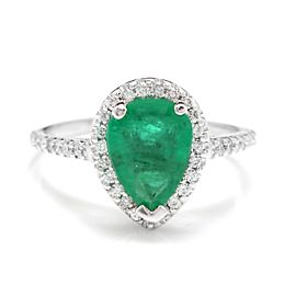 14K White Gold with 1.70ct. Green Emerald and 0.50ct. Diamonds Ring Size 5.25