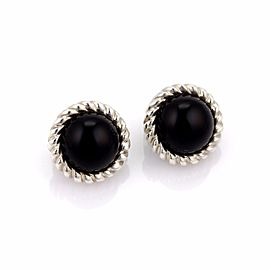 Tiffany & Co. 925 Sterling Silver Onyx Cable Wire Round Clip On Earrings