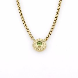 David Yurman 18K Yellow Gold & Peridot Enhancer Pendant Necklace