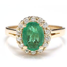 14K Yellow Gold 2.30ct Emerald & 0.70ct Diamond Ring Size 7
