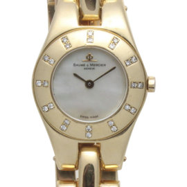 Baume & Mercier Linea MV045153 18K Yellow Gold with Diamond Quartz 22mm Womens Watch