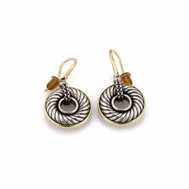 David Yurman 925 Sterling Silver and 18K Yellow Gold Cable Hook Dangle Earrings