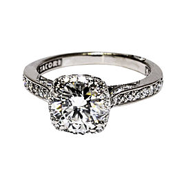 Tacori 18K White Gold & 1.14ct. Diamond Ring Size 4.25