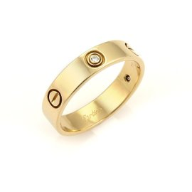 Cartier Love 18K Yellow Gold and 0.06ct Diamond Ring Size 11.5