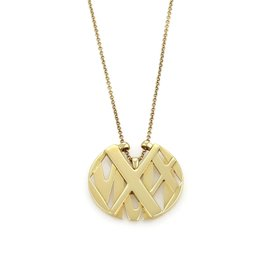 Tiffany & Co. 18K Yellow Gold Atlas Round Pendant Necklace