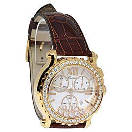 Chopard Happy Sport Chronograph 283583-5001 18K Rose Gold & Diamonds 42mm Mens Watch