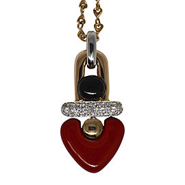 La Nouvelle Bague 18K Rose & White Gold Diamond & Red Enamel Heart Necklace