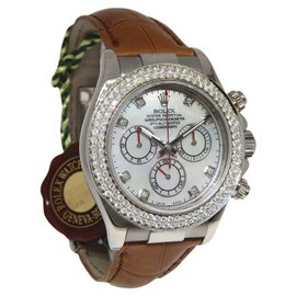 Rolex Daytona 116519 18K White Gold & Leather Mother of Pearl Dial wDiamond Automatic 40mm Mens Watch