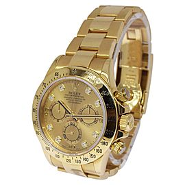 Rolex Daytona 116528 18K Yellow Gold Champagne Diamond Dial Automatic 40mm Mens Watch