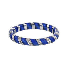 Hidalgo 18K White Gold Blue Enamel Stripped Diamond Band Size 6.5