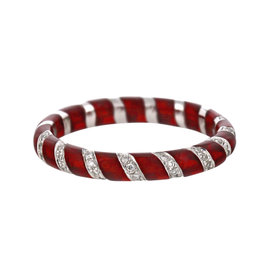 Hidalgo 18K White Gold Red Enamel Striped Diamond Band Size 6.5