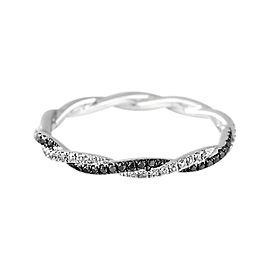 Hidalgo 18K White Gold Twisted Black & White Diamond Band Size 6.5