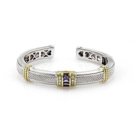 Judith Ripka Sterling Silver & 18K Yellow Gold 0.12ct Diamond & 1.00ct Amethyst Cuff Bangle Bracelet