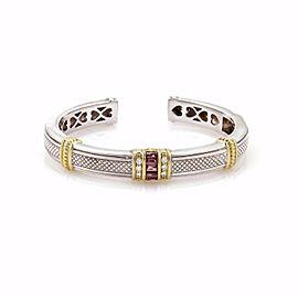 Judith Ripka Sterling Silver & 18K Yellow Gold 0.12ct Diamond and 1.00ct Garnet Cuff Bangle Bracelet
