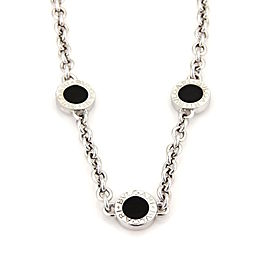 Bulgari Bvlgari 18K White Gold and Onyx 3 Circle Station Chain Necklace